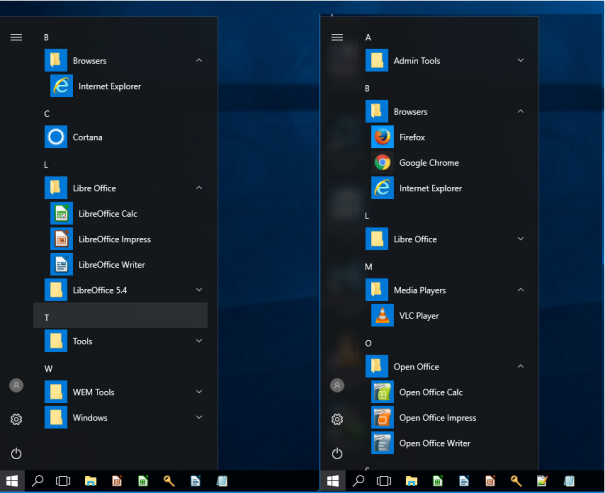 WEM DemoStartMenu