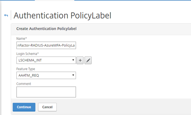 Authentication Policy Label 1